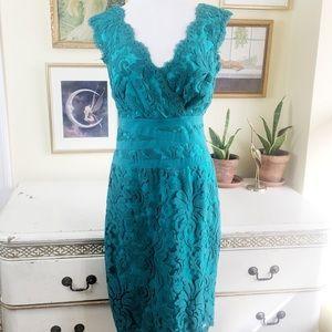 Tadashi Shoji Corded V Neck Sheath Tulle Dress